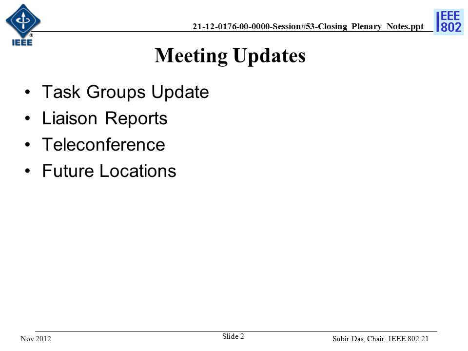 21-12-0176-00-0000-Session#53-Closing_Plenary_Notes.ppt Future Sessions – 2013 Interim: 13-18 January, 2013, Hyatt Regency, Vancouver, BC, Canada Plenary: 17-21 March, 2013, Caribe Royale, Orlando, FL, USA –Co-located with all 802 groups Interim: 12-17 May 2013, Hilton Waikoloa Village, 2013 –Co-located with all 802 wireless groups Plenary: 14-19, July 2013, Geneva, Switzerland –Co-located with all 802 groups Interim: 15-20, Nanjing Zhong Shan Hotel, September 2013, Nanjing, China –Co-located with all 802 wireless groups Plenary: 10-15 Nov 2013, Hyatt Regency Reunion, Dallas, TX, USA –Co-located with all 802 groups Subir Das, Chair 802.21 WG Nov 2012