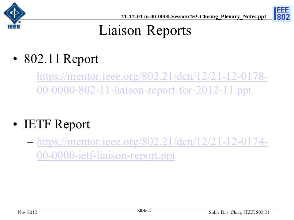 21-12-0176-00-0000-Session#53-Closing_Plenary_Notes.ppt Teleconferences 802.21c Teleconferences: –11/ 27/12, Tue 10-12 noon am ET –12/04/12, Tue 8-10 pm ET –12/11/12, Tue 8 -10 pm ET –01/08/12, Tue 8 -10 pm ET 802.21d Teleconferences: –12/05/12 Wed, 8am-10am ET –12/19/12 Wed, 8am-10am ET Subir Das, Chair, IEEE 802.21 Slide 5 Nov 2012