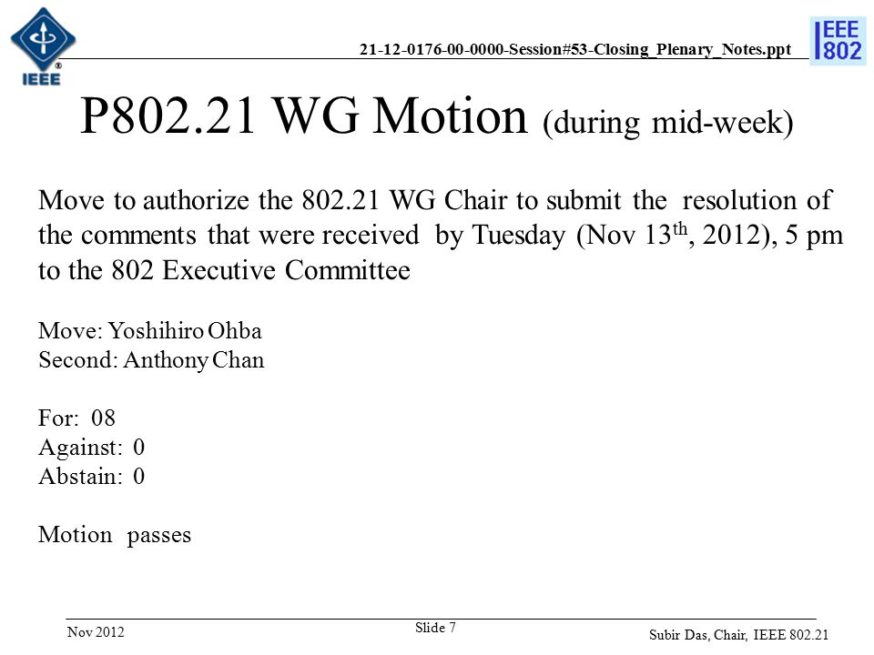 21-12-0176-00-0000-Session#53-Closing_Plenary_Notes.ppt Slide 7 P802.21 WG Motion (during mid-week) Move to authorize the 802.21 WG Chair to submit the resolution of the comments that were received by Tuesday (Nov 13 th, 2012), 5 pm to the 802 Executive Committee Move: Yoshihiro Ohba Second: Anthony Chan For: 08 Against: 0 Abstain: 0 Motion passes Subir Das, Chair, IEEE 802.21 Nov 2012