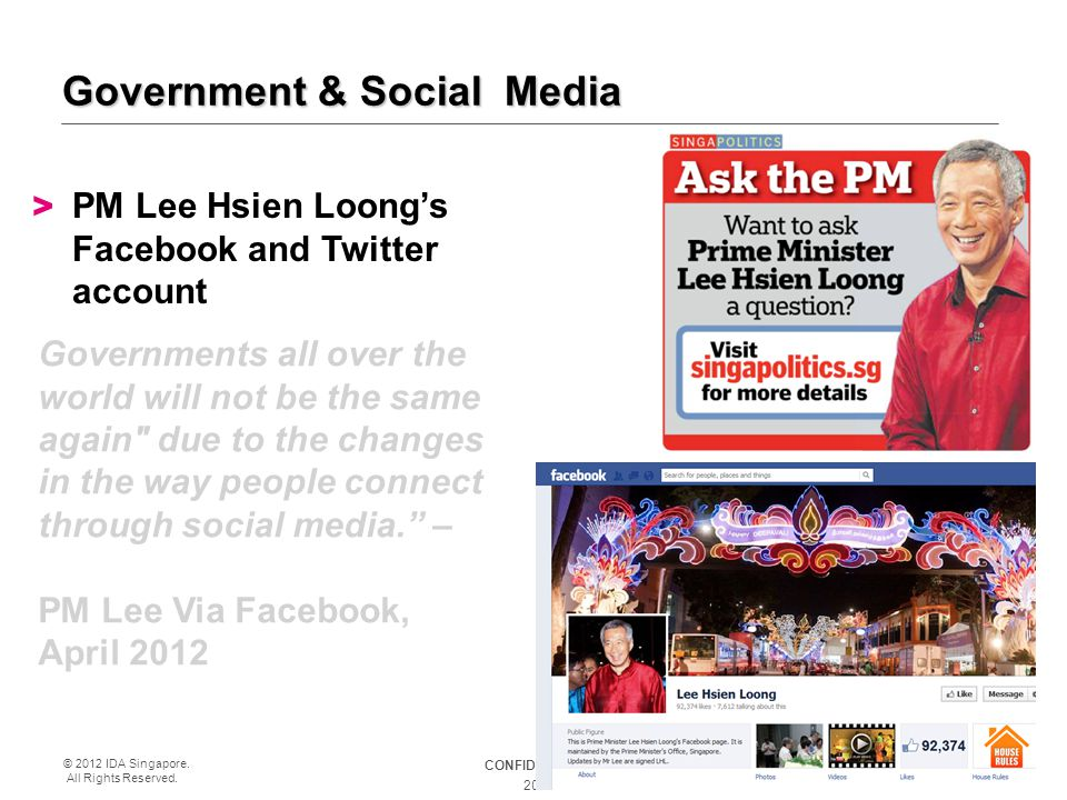 CONFIDENTIAL © 2012 IDA Singapore. All Rights Reserved. 20 Government & Social Media > PM Lee Hsien Loong's Facebook and Twitter account Governments a