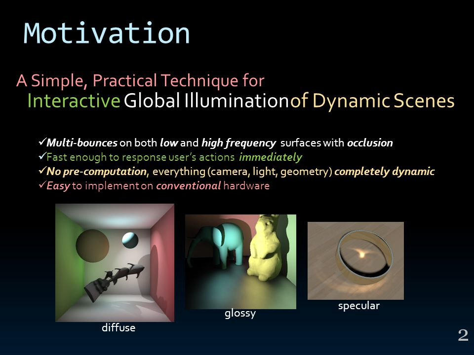 Motivation Global IlluminationInteractiveof Dynamic Scenes Multi-bounces on both low and high frequency surfaces with occlusion Fast enough to respons