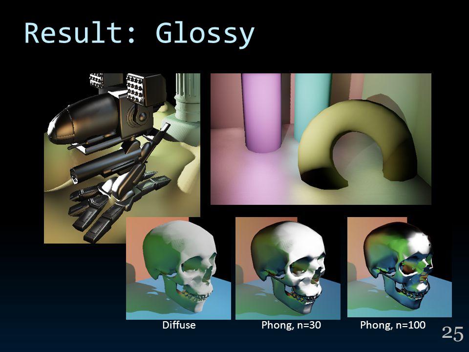 Result: Glossy 25 DiffusePhong, n=30Phong, n=100