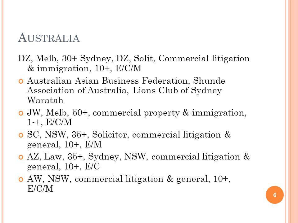 A USTRALIA DZ, Melb, 30+ Sydney, DZ, Solit, Commercial litigation & immigration, 10+, E/C/M Australian Asian Business Federation, Shunde Association of Australia, Lions Club of Sydney Waratah JW, Melb, 50+, commercial property & immigration, 1-+, E/C/M SC, NSW, 35+, Solicitor, commercial litigation & general, 10+, E/M AZ, Law, 35+, Sydney, NSW, commercial litigation & general, 10+, E/C AW, NSW, commercial litigation & general, 10+, E/C/M 6