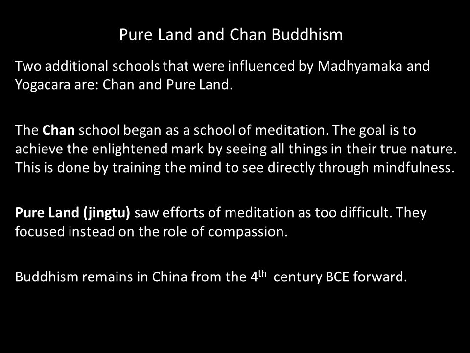 Pure Land and Chan Buddhism Two additional schools that were influenced by Madhyamaka and Yogacara are: Chan and Pure Land.