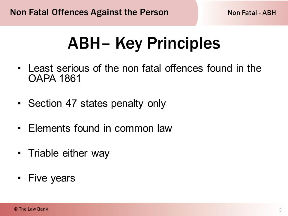 non fatal offences against the person essay An overview of the main criticisms relating to non-fatal offences against the person including assault, battery, abh, wounding and gbh.