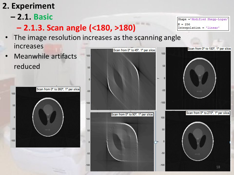 2. Experiment – 2.1. Basic – 2.1.3. Scan angle ( 180) The image resolution increases as the scanning angle increases Meanwhile artifacts reduced 18