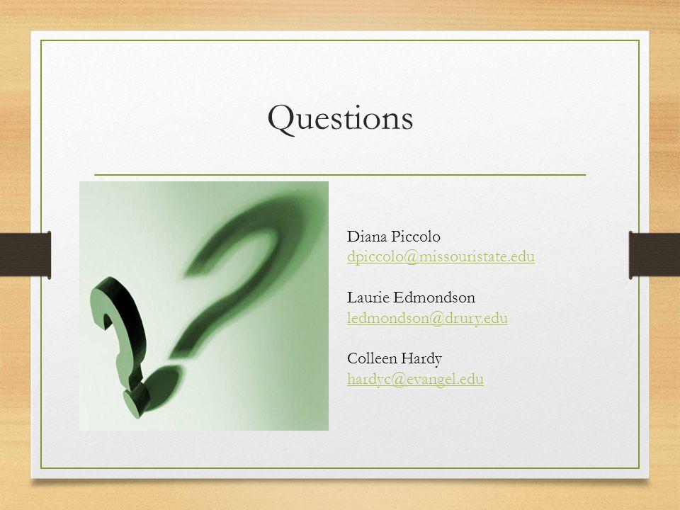 Questions Diana Piccolo dpiccolo@missouristate.edu Laurie Edmondson ledmondson@drury.edu Colleen Hardy hardyc@evangel.edu