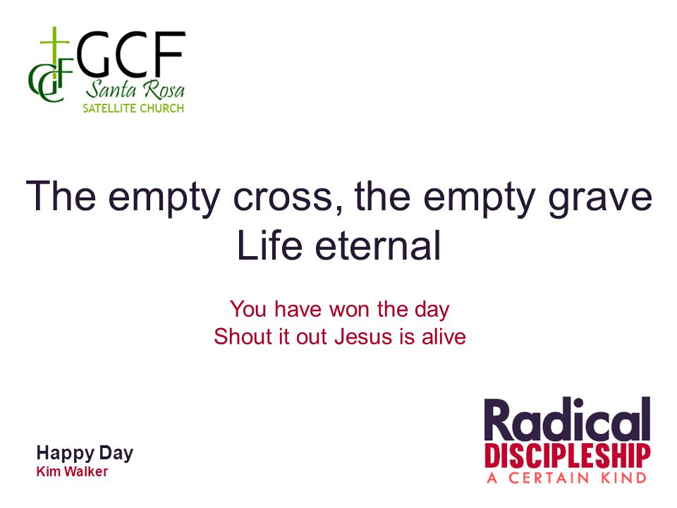 Happy Day Kim Walker The empty cross, the empty grave Life eternal You have won the day Shout it out Jesus is alive