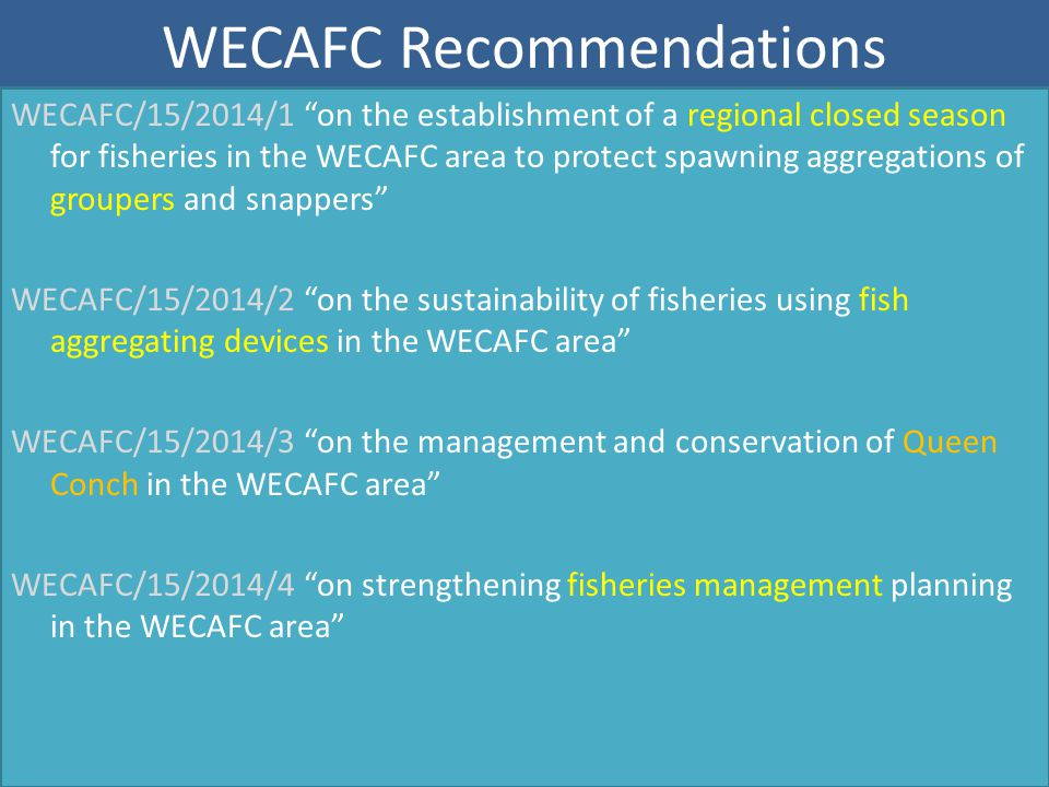 """WECAFC Recommendations WECAFC/15/2014/1 """"on the establishment of a regional closed season for fisheries in the WECAFC area to protect spawning aggrega"""
