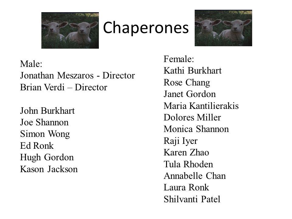 Chaperones Male: Jonathan Meszaros - Director Brian Verdi – Director John Burkhart Joe Shannon Simon Wong Ed Ronk Hugh Gordon Kason Jackson Female: Ka
