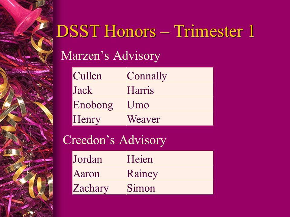 DSST Honors – Trimester 1 Marzen's Advisory Creedon's Advisory CullenConnally JackHarris EnobongUmo HenryWeaver JordanHeien AaronRainey ZacharySimon