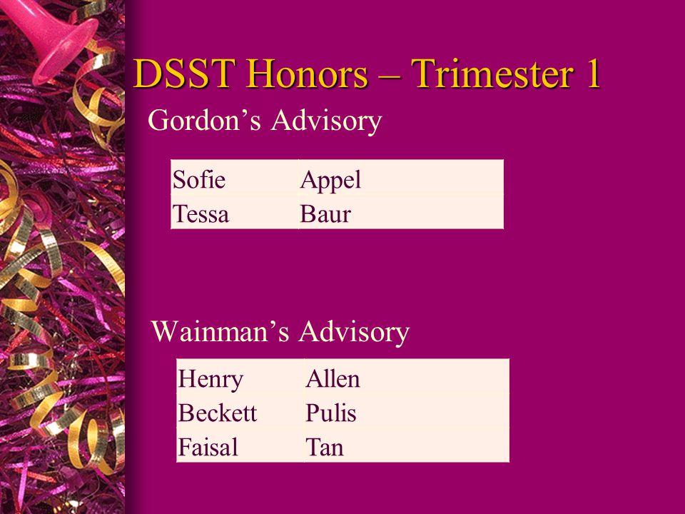 DSST Honors – Trimester 1 Gordon's Advisory Wainman's Advisory SofieAppel TessaBaur HenryAllen BeckettPulis FaisalTan