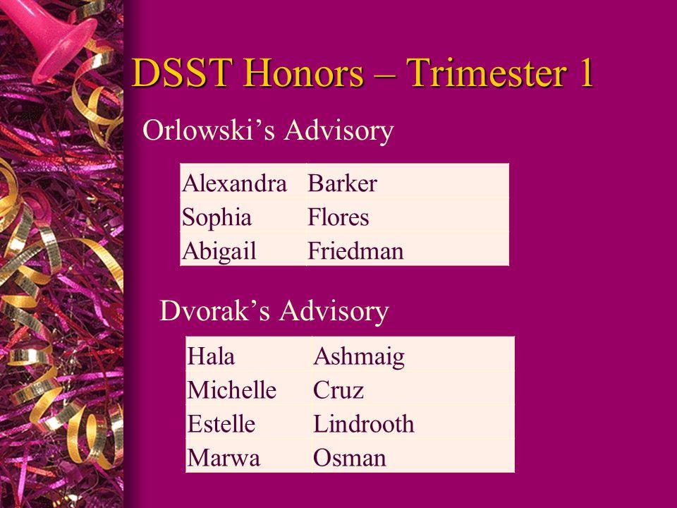 DSST Honors – Trimester 1 Orlowski's Advisory Dvorak's Advisory AlexandraBarker SophiaFlores AbigailFriedman HalaAshmaig MichelleCruz EstelleLindrooth