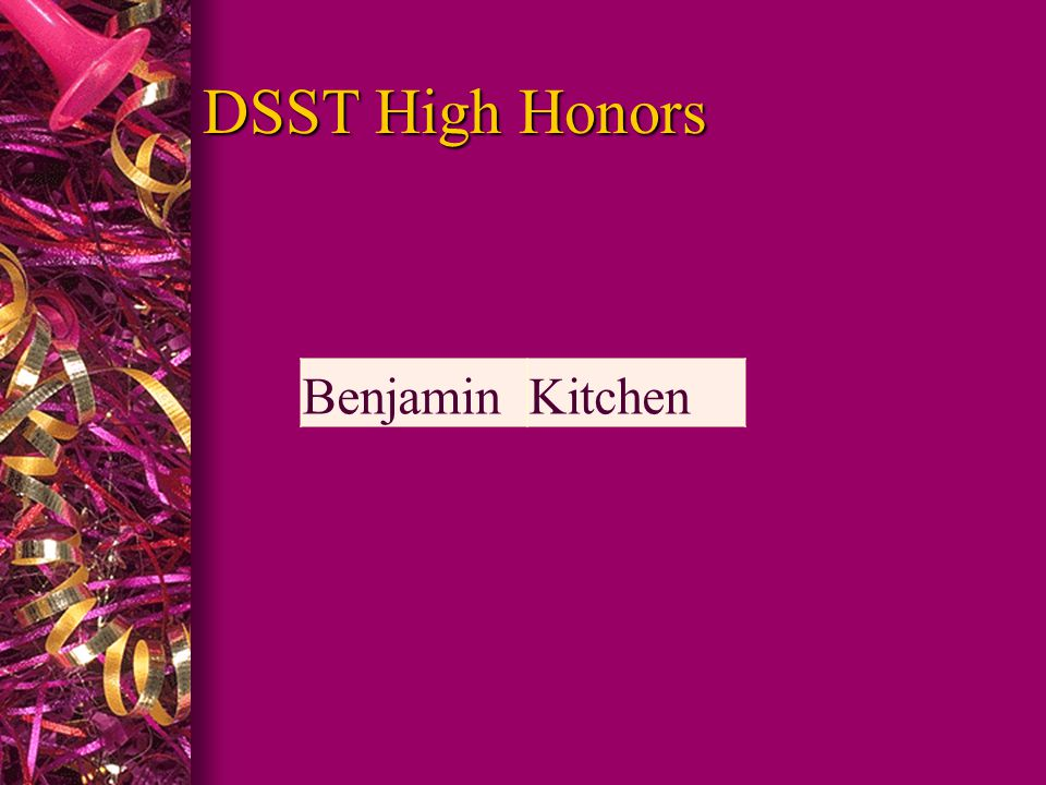 DSST High Honors BenjaminKitchen