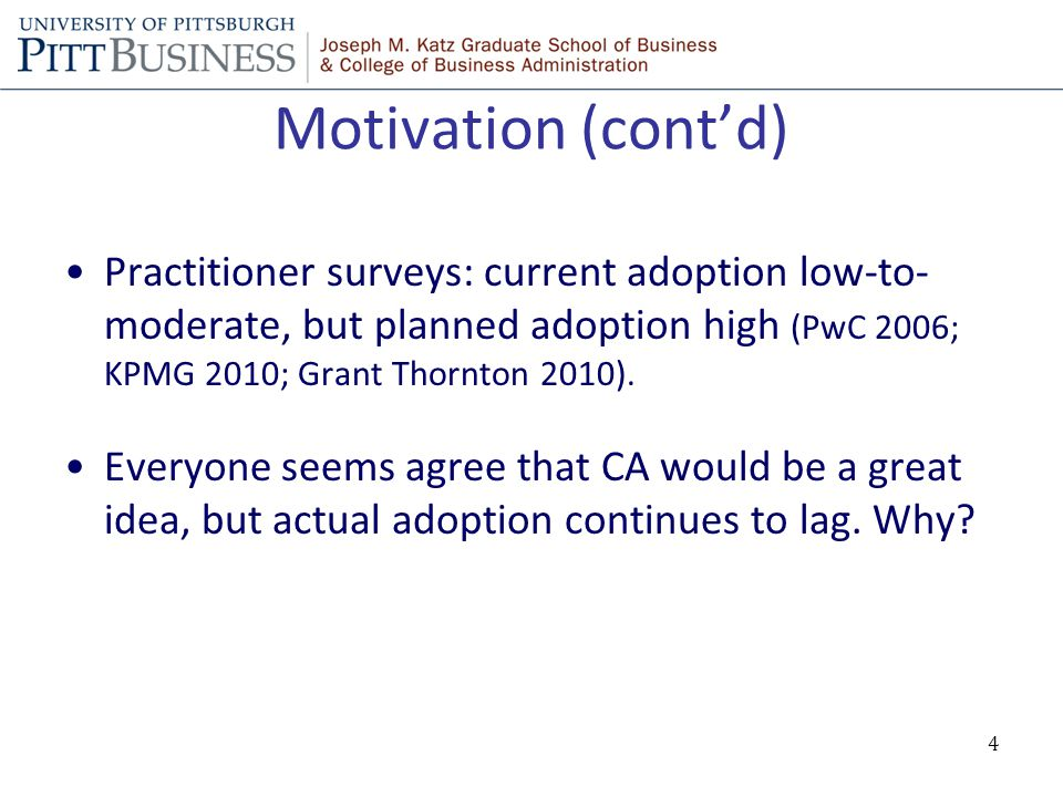 Motivation (cont'd) Practitioner surveys: current adoption low-to- moderate, but planned adoption high (PwC 2006; KPMG 2010; Grant Thornton 2010).