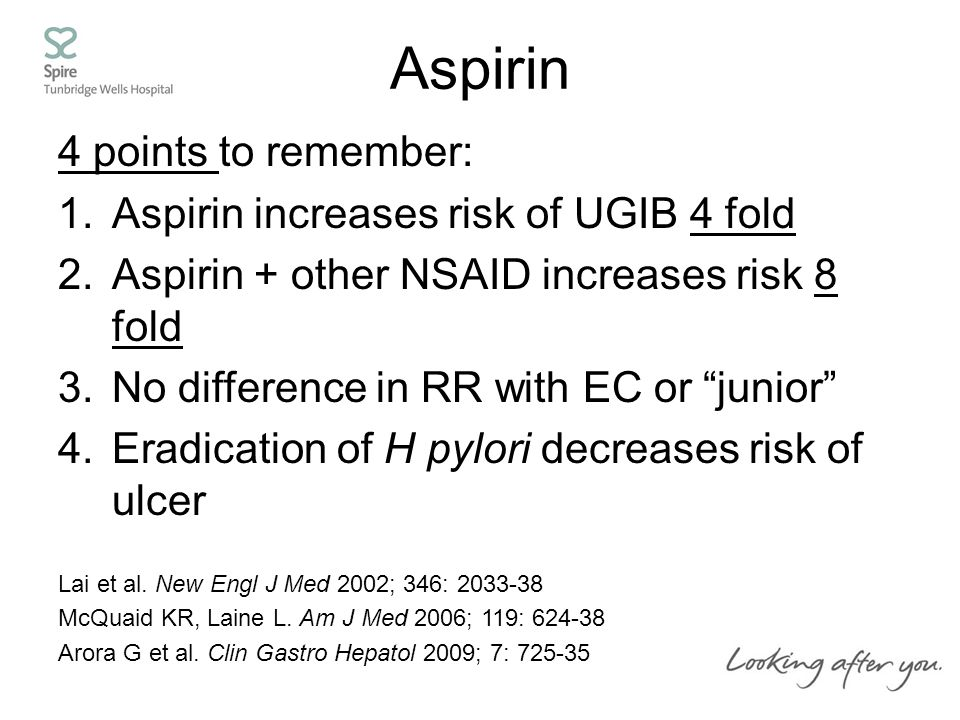 Aspirin 4 points to remember: 1.Aspirin increases risk of UGIB 4 fold 2.Aspirin + other NSAID increases risk 8 fold 3.No difference in RR with EC or junior 4.Eradication of H pylori decreases risk of ulcer Lai et al.