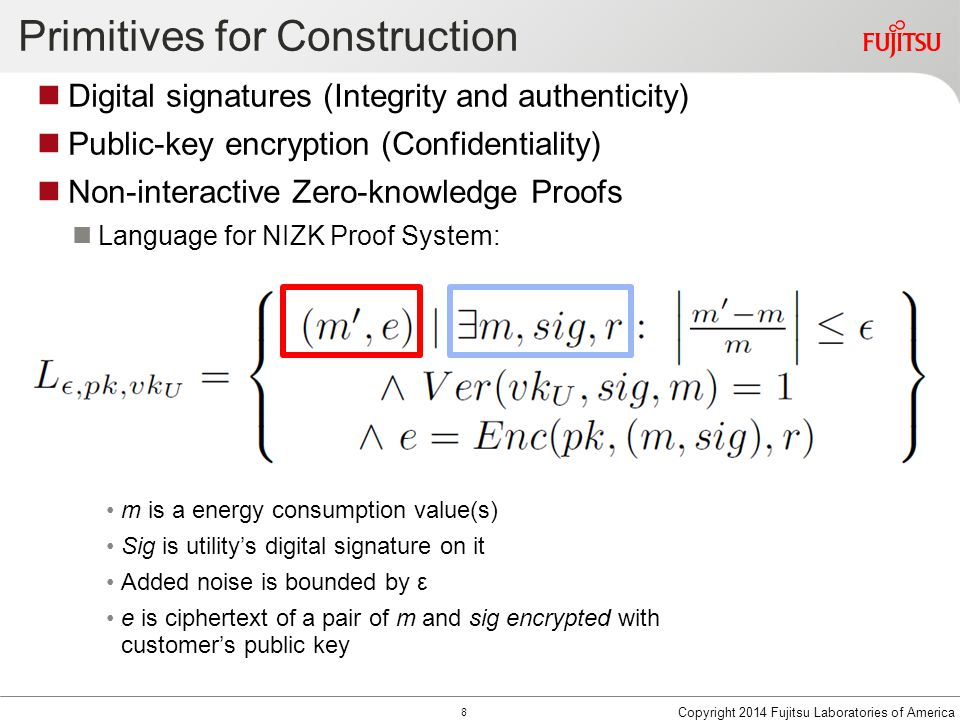 Primitives for Construction Digital signatures (Integrity and authenticity) Public-key encryption (Confidentiality) Non-interactive Zero-knowledge Proofs Language for NIZK Proof System: m is a energy consumption value(s) Sig is utility's digital signature on it Added noise is bounded by ε e is ciphertext of a pair of m and sig encrypted with customer's public key Copyright 2014 Fujitsu Laboratories of America 8