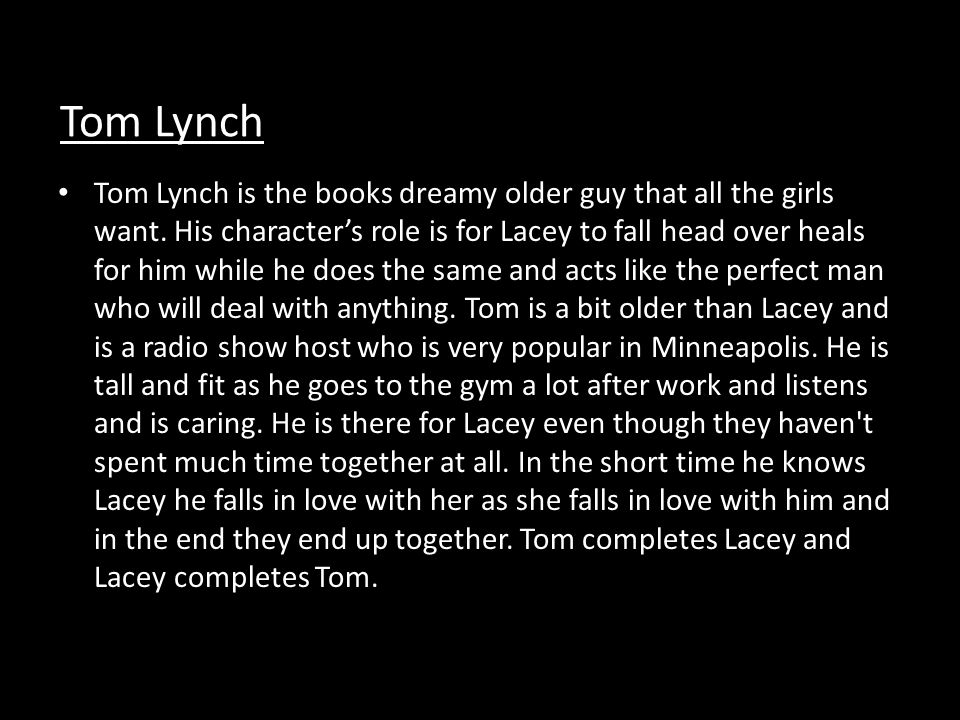 Character Changes Characters Lacey Farrell- Tom Lynch- Change Lacey is scared for her life and the life of her family as she is placed within the Witness Protection Program and taken away from her home, her job, and her family.
