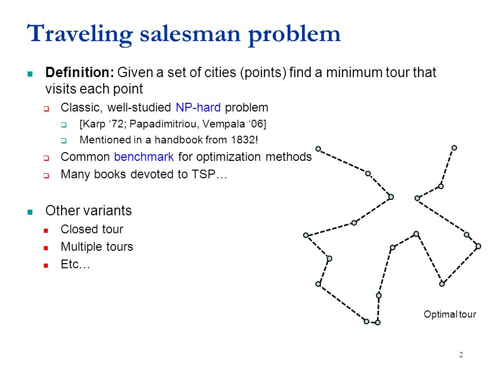 Traveling salesman problem Definition: Given a set of cities (points) find a minimum tour that visits each point  Classic, well-studied NP-hard problem  [Karp '72; Papadimitriou, Vempala '06]  Mentioned in a handbook from 1832.