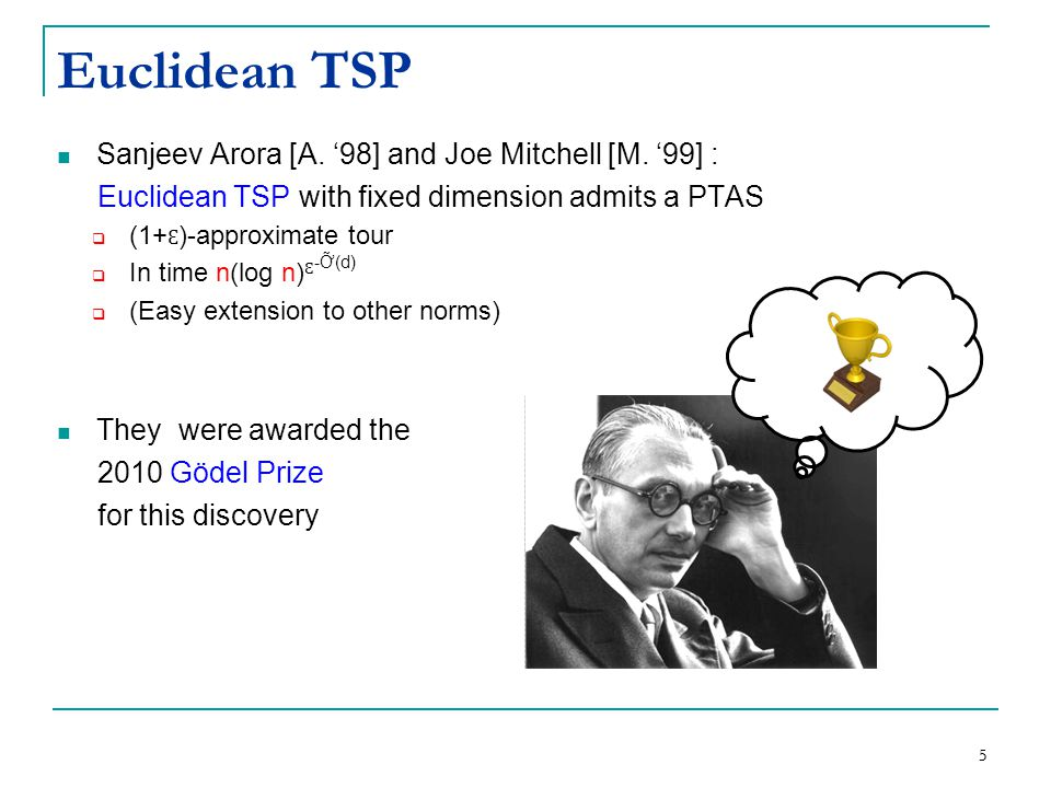Sanjeev Arora [A. '98] and Joe Mitchell [M. '99] : Euclidean TSP with fixed dimension admits a PTAS  (1+ Ɛ )-approximate tour  In time n(log n) Ɛ -Ỡ