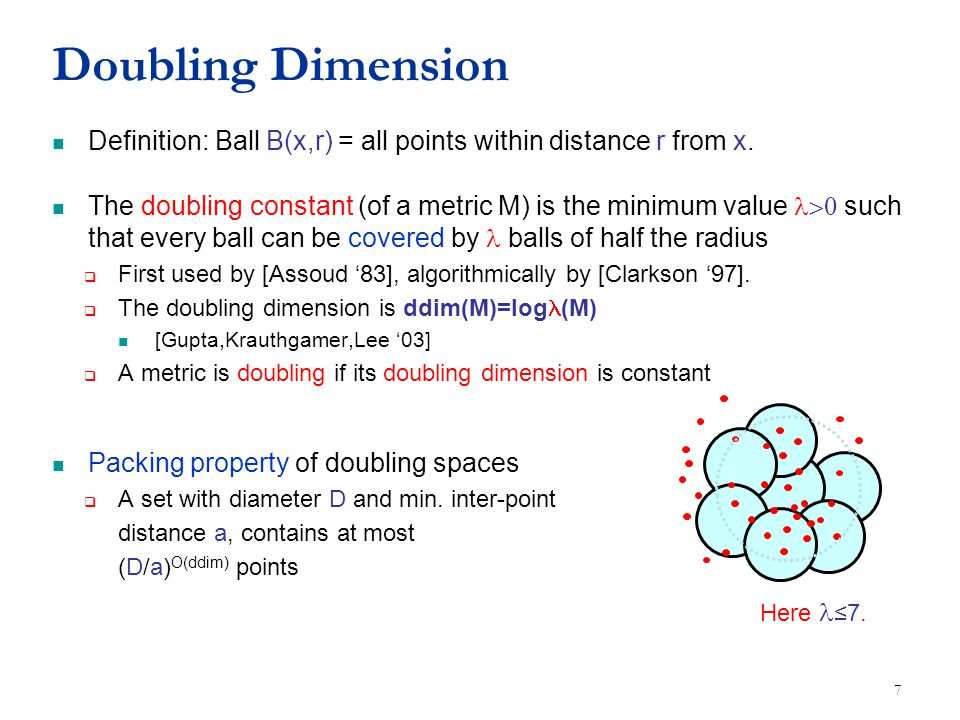 Doubling Dimension Definition: Ball B(x,r) = all points within distance r from x. The doubling constant (of a metric M) is the minimum value such th
