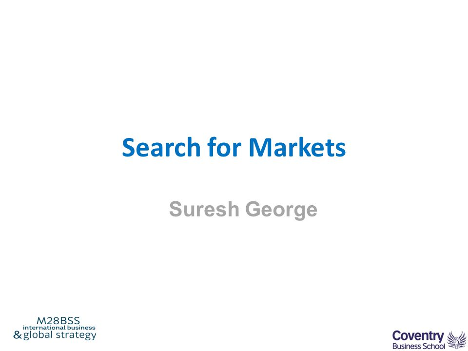 Search for Markets Suresh George