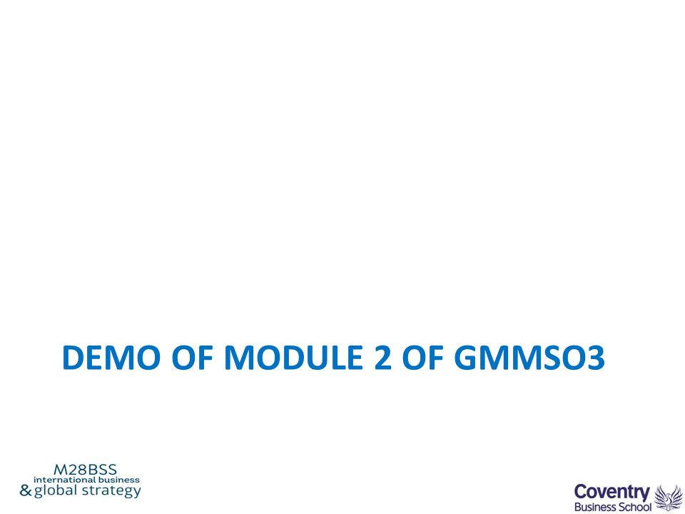 DEMO OF MODULE 2 OF GMMSO3
