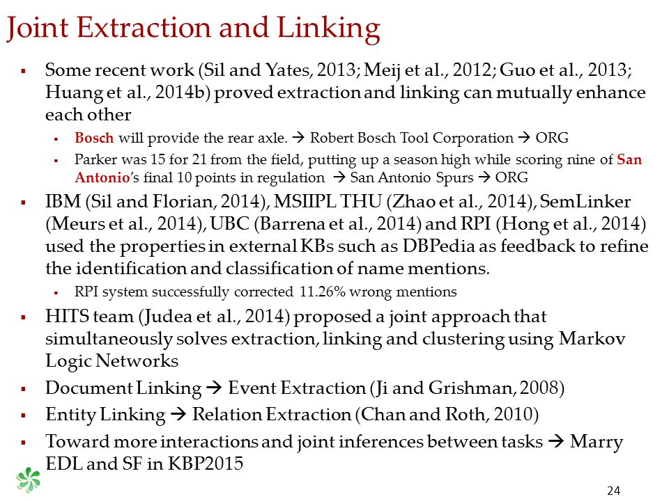 Joint Extraction and Linking 24  Some recent work (Sil and Yates, 2013; Meij et al., 2012; Guo et al., 2013; Huang et al., 2014b) proved extraction a