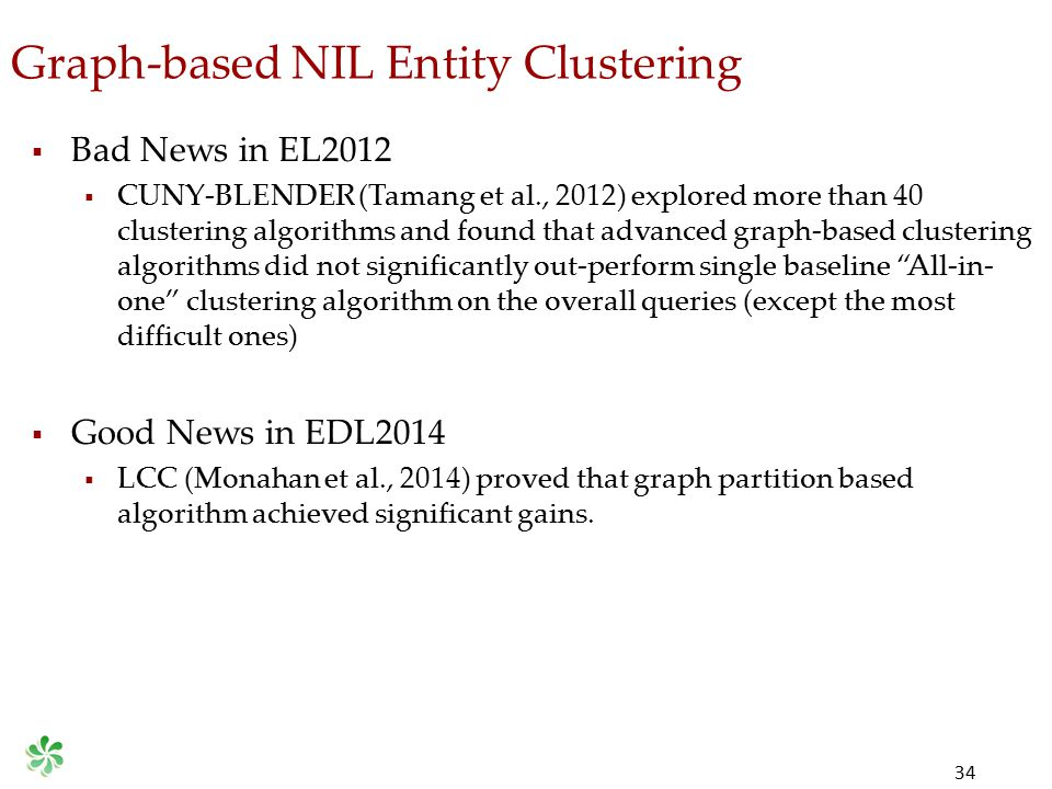 Graph-based NIL Entity Clustering 34  Bad News in EL2012  CUNY-BLENDER (Tamang et al., 2012) explored more than 40 clustering algorithms and found t
