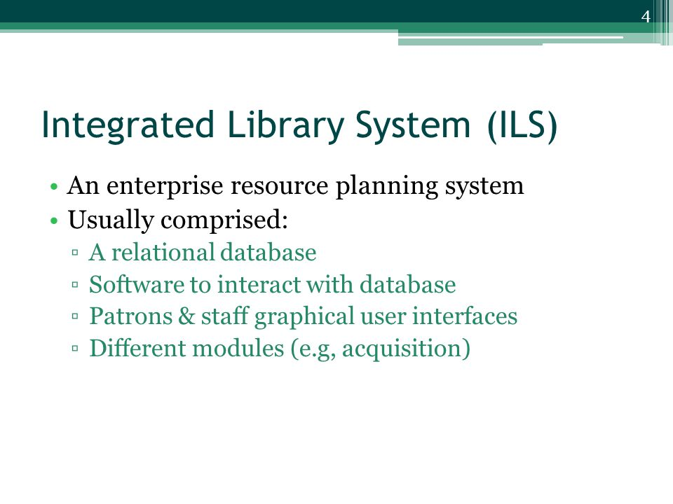 Integrated Library System (ILS) Client-server computing model ▫Distribute applications ▫All the personal computers throughout the library can access the system (user-friendly interface) 5