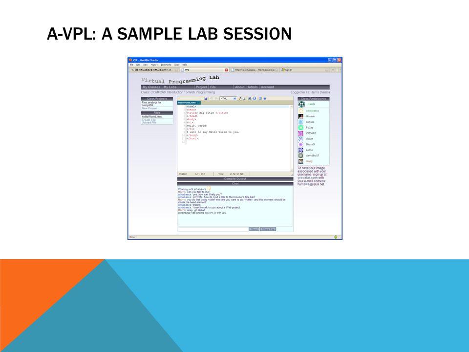 A-VPL: A SAMPLE LAB SESSION