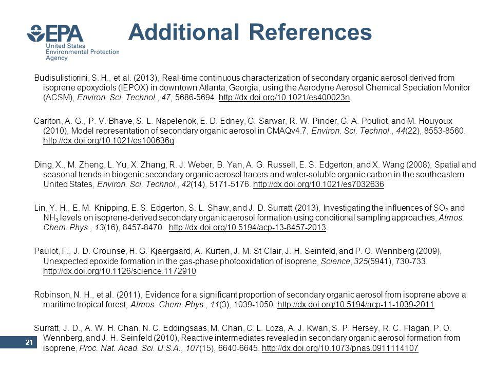 Additional References 21 Budisulistiorini, S. H., et al.