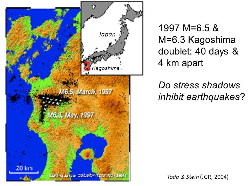 1997 M=6.5 & M=6.3 Kagoshima doublet: 40 days & 4 km apart Do stress shadows inhibit earthquakes.