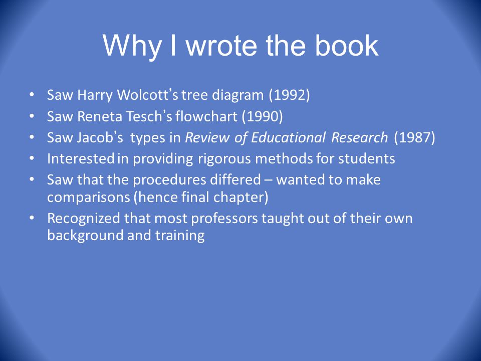 Why I wrote the book Saw Harry Wolcott ' s tree diagram (1992) Saw Reneta Tesch ' s flowchart (1990) Saw Jacob ' s types in Review of Educational Rese