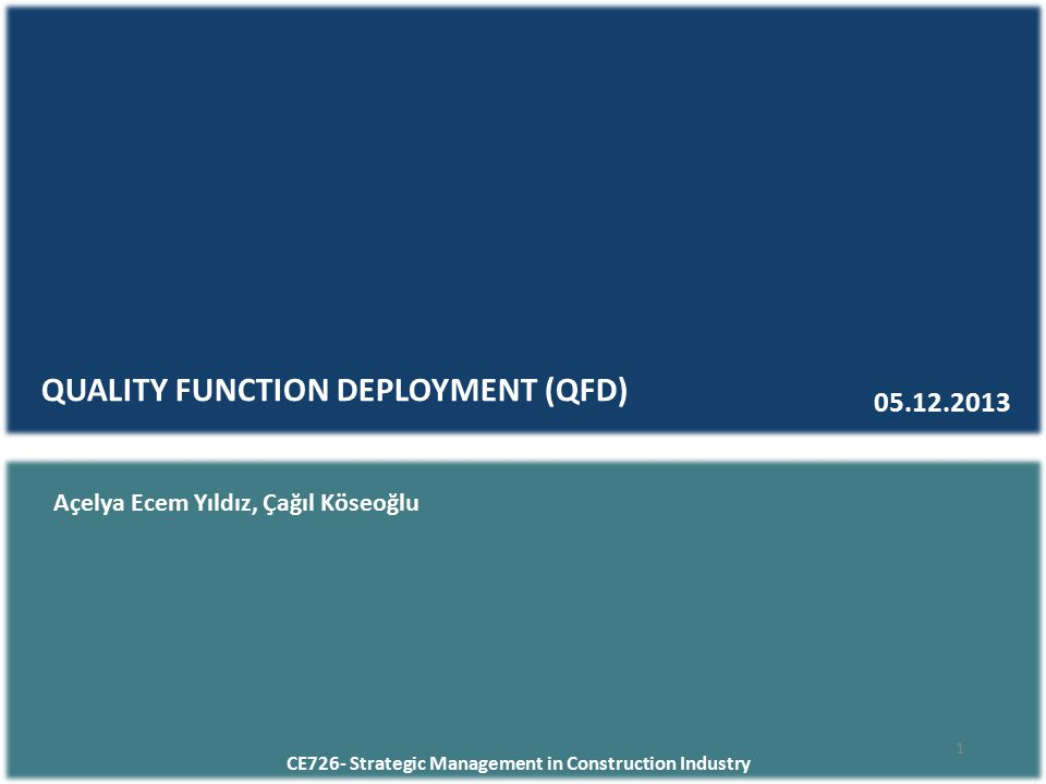 CE726- Strategic Management in Construction Industry QUALITY FUNCTION DEPLOYMENT (QFD) 05.12.2013 1 Açelya Ecem Yıldız, Çağıl Köseoğlu