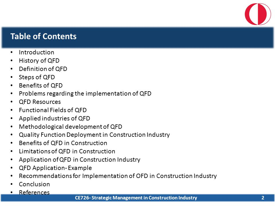 CE726- Strategic Management in Construction Industry Table of Contents 2 Introduction History of QFD Definition of QFD Steps of QFD Benefits of QFD Pr