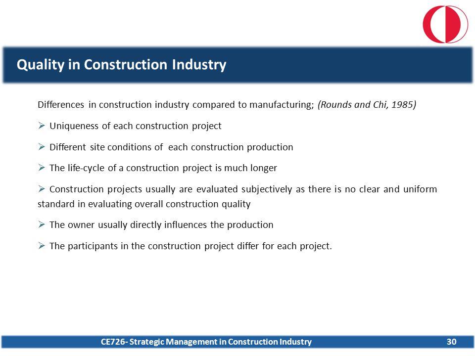 CE726- Strategic Management in Construction Industry30 Quality in Construction Industry Differences in construction industry compared to manufacturing