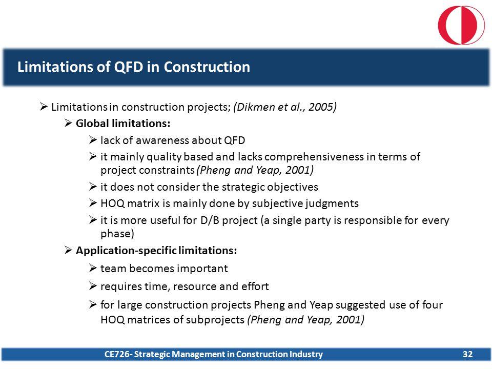 CE726- Strategic Management in Construction Industry32 Limitations of QFD in Construction  Limitations in construction projects; (Dikmen et al., 2005