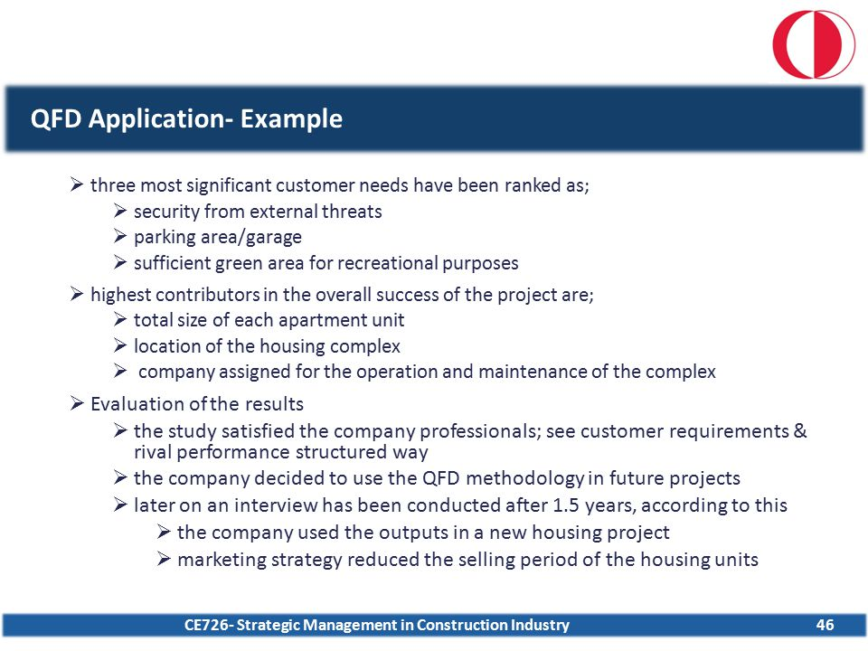 CE726- Strategic Management in Construction Industry46 QFD Application- Example  three most significant customer needs have been ranked as;  securit