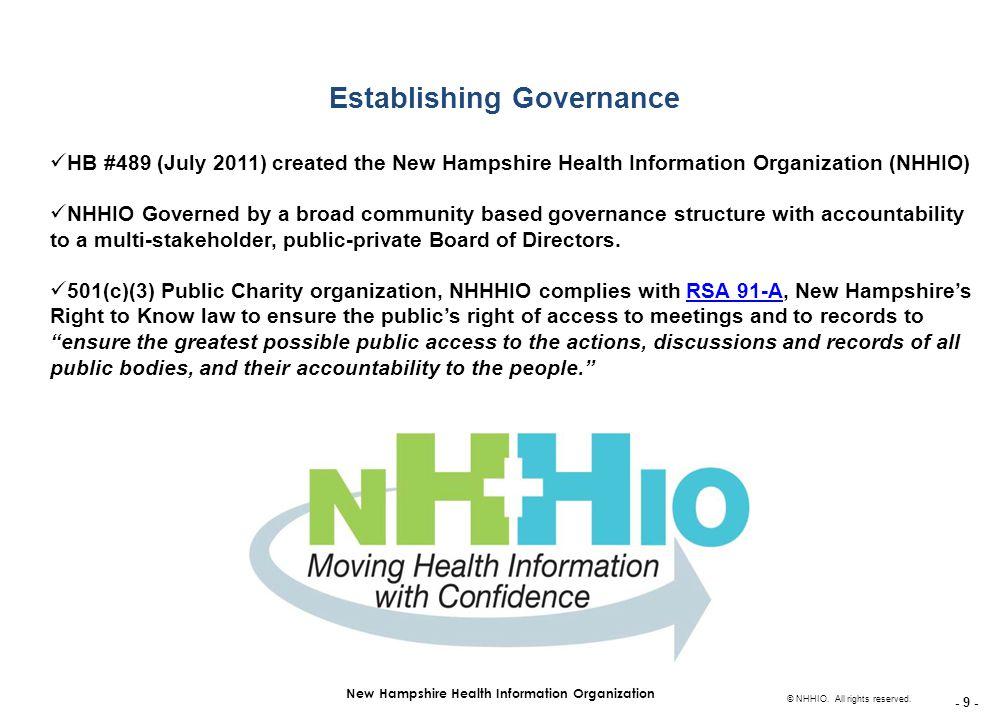- 9 - New Hampshire Health Information Organization © NHHIO.