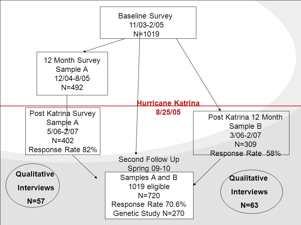Qualitative Interviews N=120  First Wave Conducted after the 2006-2007 survey and linked to survey responses (57 interviews)  Second Wave Conducted after the 2009-2010 survey and linked to survey and previous qualitative responses.