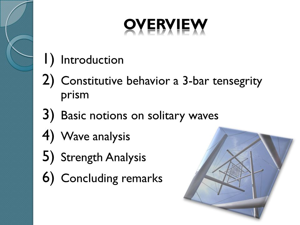 Part 1: INTRODUCTION TENSEGRITY is a spatial reticulate system in a state of self-stress.