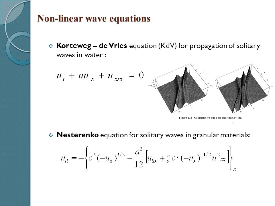  Korteweg – de Vries equation (KdV) for propagation of solitary waves in water :  Nesterenko equation for solitary waves in granular materials: Non-
