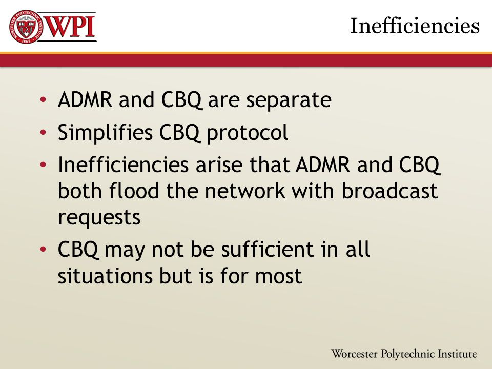 ADMR and CBQ are separate Simplifies CBQ protocol Inefficiencies arise that ADMR and CBQ both flood the network with broadcast requests CBQ may not be