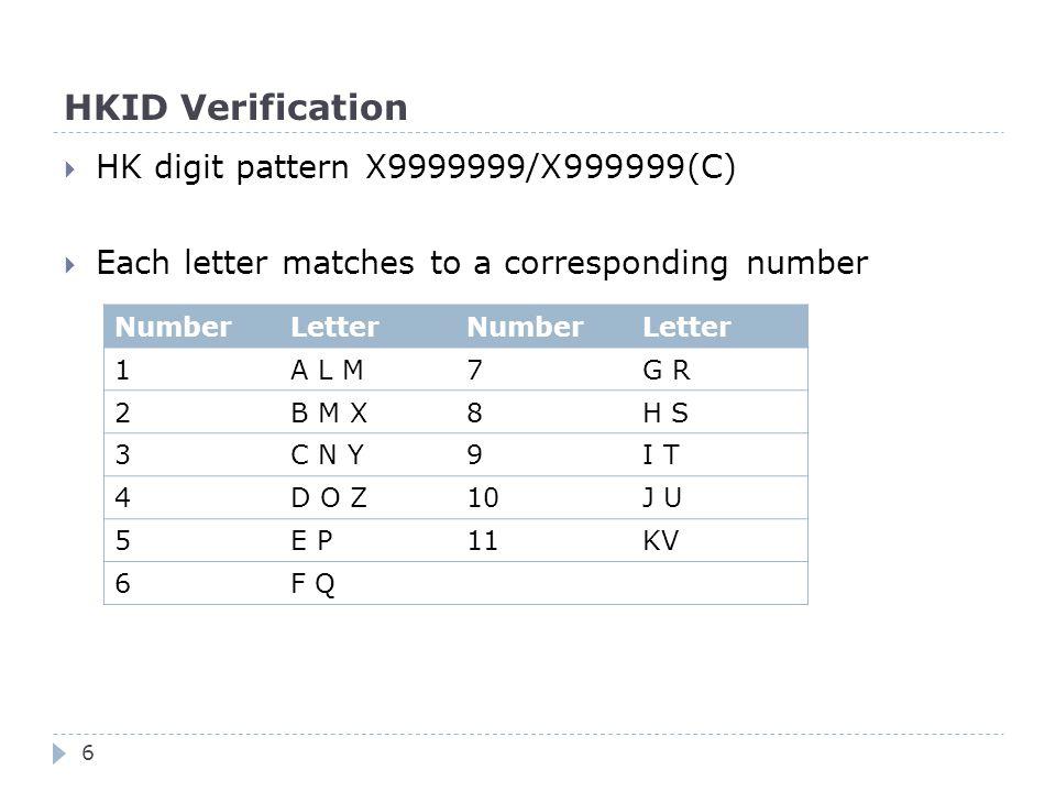 HKID Verification  HK digit pattern X9999999/X999999(C)  Each letter matches to a corresponding number NumberLetterNumberLetter 1A L M7G R 2B M X8H S 3C N Y9I T 4D O Z10J U 5E P11KV 6F Q 6