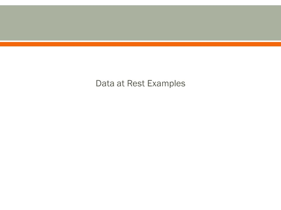 Data at Rest Examples