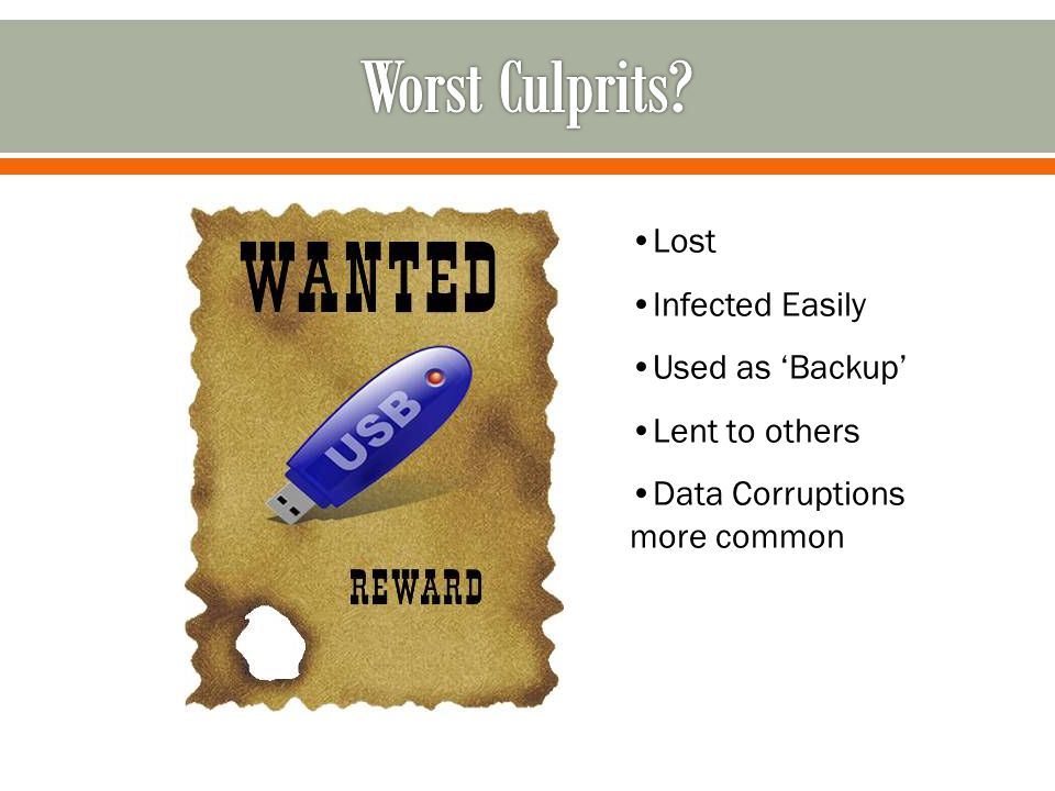 Lost Infected Easily Used as 'Backup' Lent to others Data Corruptions more common