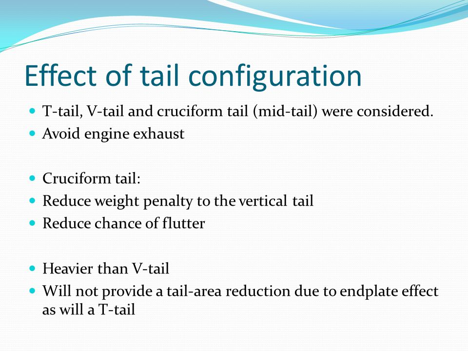 Effect of tail configuration T-tail, V-tail and cruciform tail (mid-tail) were considered.