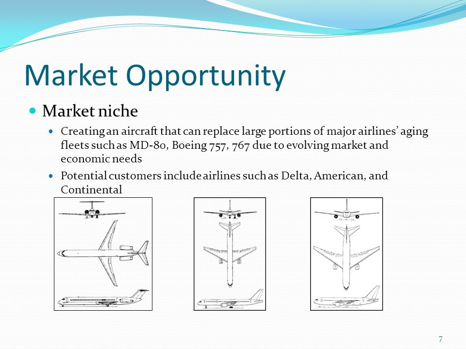 Market Opportunity Market niche Creating an aircraft that can replace large portions of major airlines' aging fleets such as MD-80, Boeing 757, 767 due to evolving market and economic needs Potential customers include airlines such as Delta, American, and Continental 7