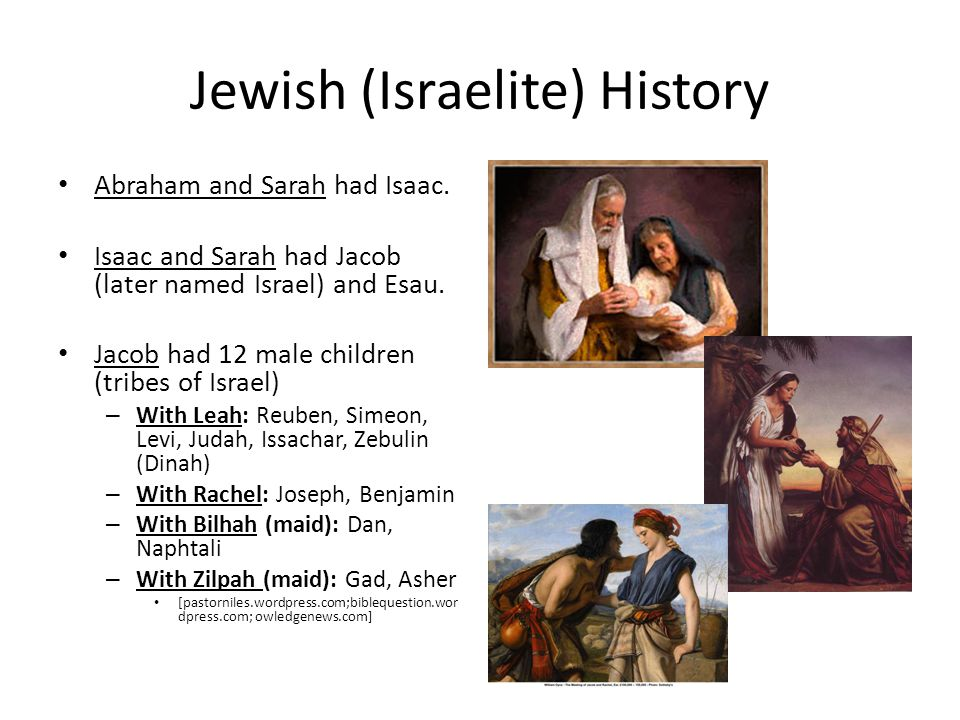 Jewish (Israelite) History Abraham and Sarah had Isaac.